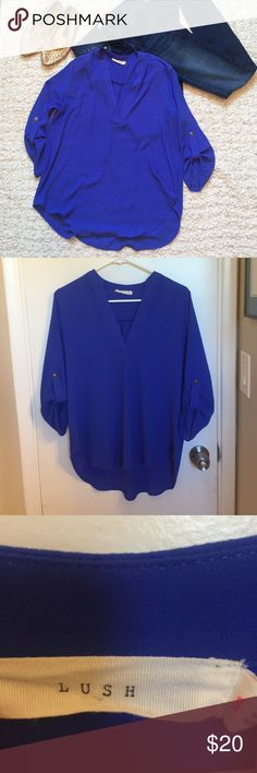 ⚡️MARK DOWN⚡️ Lush blouse royal blue Lush Royal blue blouse. Small stain/pen mark/ dot. Other than that, like new. Worn only a few times. Lush Tops Blouses