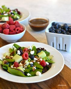 Try this Summer Time Salad {Berry & Goat Cheese Salad} by eMeals. This looks delish! | apileofashes.com