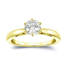 Auriya 14k Gold 3/4ct TDW Round-Cut Diamond 6-Prong Solitaire Engagement Ring (I-J, SI1-SI2) (Yellow Gold - Size 5), Women's