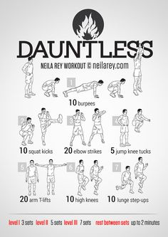 Dauntless / Divergent Workout maybe for my cross training days lol Movie Workouts, Hero Workouts, At Home Workouts, Circuit Workouts, Sport Fitness, Fitness Tips, Fitness Motivation, Health Fitness, Neila Rey Workout