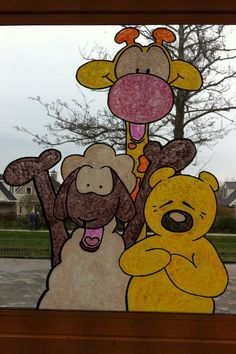 Raamschildering School Decorations, Best Teacher, Drawing For Kids, Classroom Decor, Winnie The Pooh, Diy And Crafts, Doodles, Snoopy, Diys
