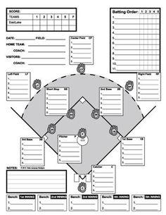 baseball field lineup template