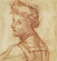 Andrea del Sarto, Study of a Young Man (verso), ca. 1517–18, red chalk 5 1/8 x 4 15/16 inches. Galleria degli Uffizi, Gabinetto Disegni e Stampe, Florence by permission of the Ministero dei beni e delle attività culturali e del turismo.