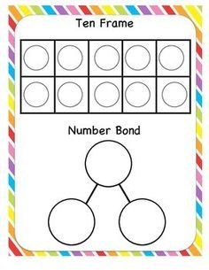 SAVED Ten frame and number bond on the same work mat great for all the different combinations of numbers, plus a double ten frame and number bond for numbers to 20 Free on TPT Numbers Kindergarten, Math Numbers, Kindergarten Addition, Decomposing Numbers, Eureka Math, Singapore Math, Math Work, Math Intervention, Math Addition