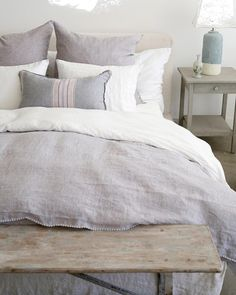 Layers of Linen. #shabbychic #shabbychicdecor #rachelashwell #bedroomdecor #bedroomgoals #linen #greylinen