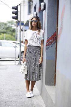 white and black striped skirt and t-shirt