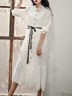 Shop Midi Dresses - White Flounce Shirt Collar Long Sleeve Midi Dress online. Discover unique designers fashion at StyleWe.com.