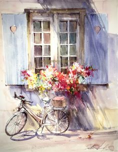 Watercolors, Oils and Acrylics by Brazilian artist Fabio Cembranelli featuring a gallery of original paintings, art tutorials, watercolor tips and his daily paintings. Watercolor Tips, Watercolor Landscape, Watercolor Flowers, Watercolor Paintings, Original Paintings, Oil Paintings, Bicycle Painting, Bicycle Art, Arte Latina
