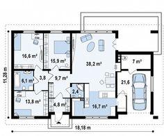 Проект одноэтажного дома традиционного характера с тремя удобными спальнями и встроенным гаражом - Z123