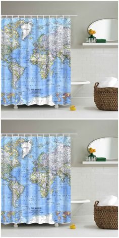 mouldproof world map shower curtain