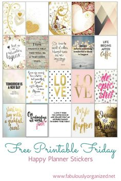 Fridays on Fabulously Organized are Free Printable Friday!  A free PDF file of planner stickers!