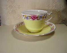 Vintage Balfour Royal Crown Yellow Bone China by SarahBethsCottage