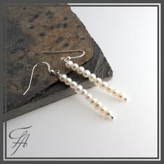 Pearl Earrings,Bar Pearls,Earrings,Bar Earrings,Long Earrings,Drop Earrings,Dainty Earrings,Handmade Earrings,Gift For Her,Pearl Bars by FortunArtJewelry on Etsy