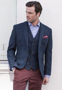 Harris Tweed Jacket, Blue Herringbone