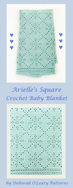 Crochet Blanket Pattern – Arielle's Square – Baby Blanket – Easy Granny Square – Crochet Throw Afghan – Pattern by Deborah O'Leary Patterns Granny Square Crochet Pattern, Crochet Squares, Crochet Blanket Patterns, Baby Blanket Crochet, Crochet Stitches, Crochet Afghans, Baby Afghan Patterns, Crochet Square Blanket, Baby Afghans