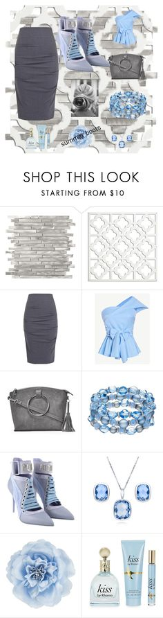 """""""Rihanna Blues"""" by donnamarie-s ❤ liked on Polyvore featuring Wall Pops!, Nicole Miller, Nasty Gal, Puma, BERRICLE and Monsoon"""