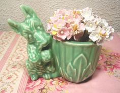 vintage seafoam green scotty dog planter