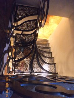 """BOLOGNA"" Scala_ Staircase designed by LauroGhediniStudio_ made ​​with metal parts coming from laser cutting / water cutting /with solid portions of milling / turning _ the steps are made of steel with a great modulus of elasticity _ Painted transparent ​​with high strength by expert craftsman applicator, via Flickr"
