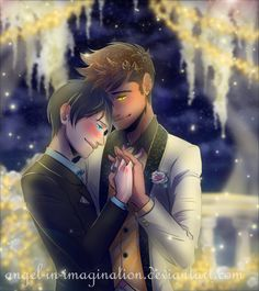 I found love ...  Drawn by Angel-In-Imagination  ...   alexander 'alec' lightwood, malec, magnus bane, the mortal instruments, shadowhunters