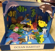 Making a ocean diorama is a fun way to learn about life in the sea. These under the sea dioramas are fun to make and look great. Ocean Projects, Animal Projects, Animal Crafts, School Projects, Projects For Kids, Crafts For Kids, Preschool Crafts, Project Ideas, Ocean Diorama