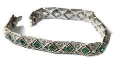 Antique Bracelet, Edwardian Sterling Silver Bracelet, Marcasites, Green Rhinestones, Antique Jewelry, Vintage Jewelry