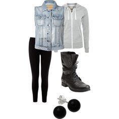 hoodie, vest, combat boots