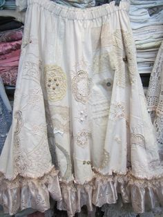 RESERVED for PRISCILLA  Vintage Kitty. Rosebud . vintage linens panel skirt. .., pearls,embroidery, shabby chic gorgeousness .