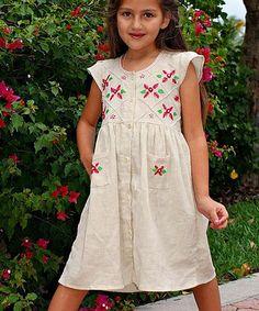 Look at this #zulilyfind! Beige & Pink Rose Judy Dress - Infant, Toddler & Girls by Little Cotton Dress #zulilyfinds