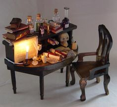 Dolls house Miniature Filled Table  APOTHECARY/  POISONER / WITCH. £38.00, via Etsy.