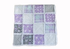 A perfect blend of fawns, plaid & modern prints can be found in this cozy handmade Lilac Grove Raggy quilt for your little misses. Rag Quilt, Quilts, Keepsake Quilting, Modern Prints, Lilac, Blanket, Baby, Handmade, Hand Made