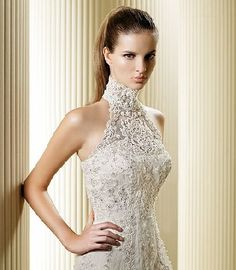 lace high neck wedding dresses kind of loving this.
