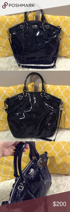 """Coach Patent Leather Black Large Satchel 💟Authentic💟Excellent shape. Minimal sign of use only. Features detachable shoulder strap, zip on top to close, pockets inside, silver hardware and coach hangtag. Beautiful vibrant black. Holds a lot. Don't be shy to make an offer💕  💐Dimensions: Length-16""""                           Height-14""""                           Bottom Width-3""""                           Handle drop-6"""" Coach Bags Satchels"""