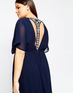 Image 3 - Club L - Maxi robe grande taille ornée d'une lanière en T dans le dos