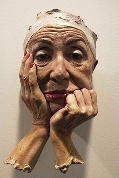 Marc Sijan, clay {figurative realism elderly woman face hands #hyperreal portrait sculpture}