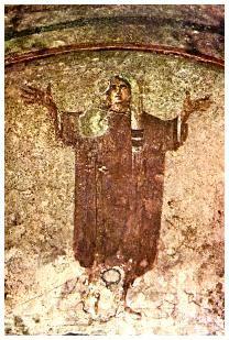***Donna Velata, catacumba de Santa Priscila, S.III. Roma.Arte paleocristiano. El orante es un tema iconográfico del arte paleocristiano donde se representa a una persona o grupo de personas con las manos extendidas en gesto de plegaria. Posición típica de la oración.