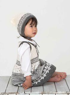 Kjole og lue - Viking of Norway Knitting For Kids, Crochet For Kids, Crochet Baby, Knit Crochet, Norwegian Knitting, Fair Isle Knitting, Children In Need, Folk Costume, Knitted Dolls