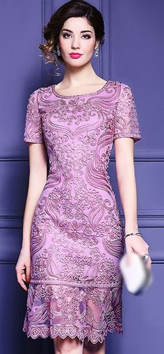 Vintage Embroidery Mesh Pure Color Mermaid Bodycon Dress