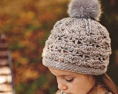 Crochet PATTERN , Faux Fur PomPom Hat (baby to adult)