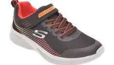 Pantofi sport SKECHERS negri, 97535L, din material textil si piele ecologica