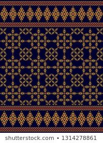 Vector blue pattern consists of patterns that the northern people use to wear Thai Pattern, Pattern Images, Bohemian Rug, Royalty Free Stock Photos, Patterns, Rugs, Illustration, People, Blue