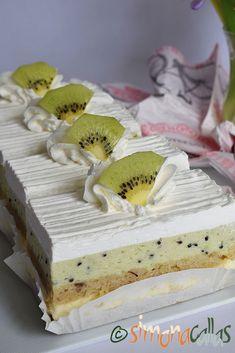 Prajitura Totul va fi bine Mousse, Romanian Desserts, Vegan Desserts, Kiwi, Vanilla Cake, Sweet Treats, Cheesecake, Baby Dogs, Food
