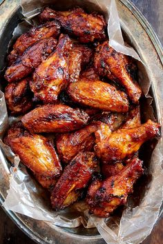 Best Baked BBQ Chicken Wings, period — First, the wings are baked on convection until super crispy, then coated in BBQ sauce and baked some more. The end result is sticky and addictive baked chicken wings that you can't have enough of. Baked Bbq Chicken Wings, Best Baked Chicken Recipe, Baked Chicken Recipes, Chiken Wings, Chicken Wing Marinade, Barbecue Chicken, Chicken Bbq Sauce, Grilled Hot Wings Recipe, Recipes For Chicken Wings