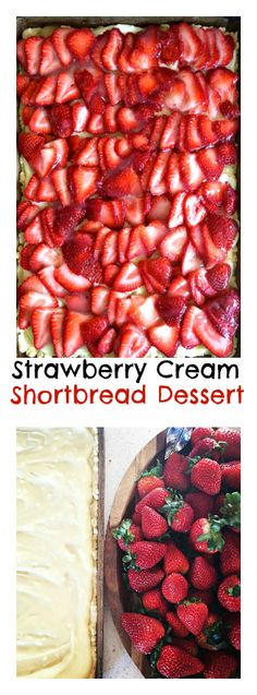 Strawberry Cream Shortbread Dessert feeds 12-15 guests! #Easter #Spring