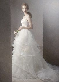 Ball Gown with Corded Lace Bodice and Tulle Skirt Style VW351065 White by Vera Wang
