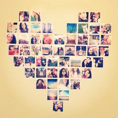 Heart made out of pictures for wall decor