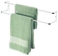 suporte porta toalha toalheiro duplo cromado parede 60 cm