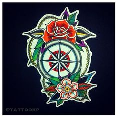 Image result for old school compass tattoo