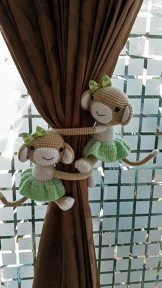 A pair of Skirt Monkey Curtain Tiebacks, Crochet monkey, Monkey tieback, baby shower (Made of Cotton yarn) Crochet Monkey, Crochet Baby, Crochet Hippo, Knitting Projects, Crochet Projects, Amigurumi Patterns, Crochet Patterns, Plastic Bag Crochet, Crochet Curtains