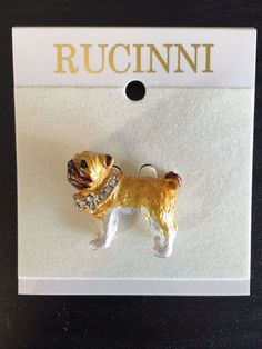PUG DOG RUCINNI Brooch Lapel Pin Swarovski Crystal Collar Green Eyes Gift Item #Ruccini