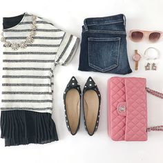 striped peplum top, polka dot flats, pink chanel medium flap